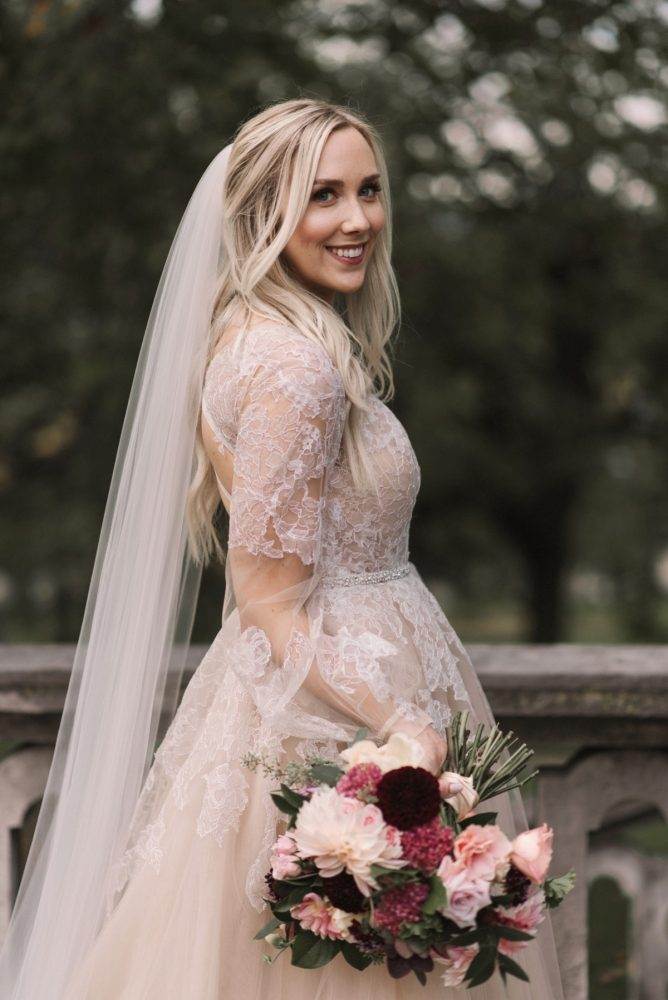 Pink Hayley Paige Wedding Dress: Modern Fairy Tale Inspired Wedding from Whitling Photography featured on Burgh Brides