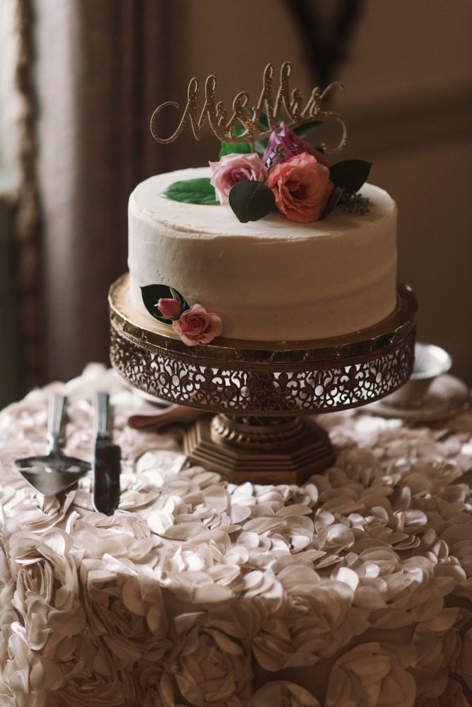 Gold Wedding Cake Stand: Modern Fairy Tale Inspired Wedding from Whitling Photography featured on Burgh Brides