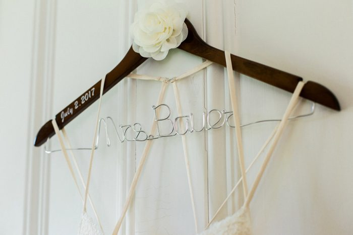 Custom Bridal Hanger: Rustic Blue & Green Wedding from Breanna Elizabeth Photography featured on Burgh Brides