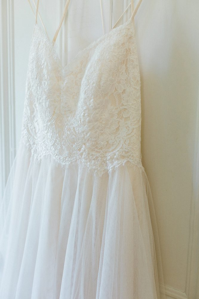 Lace & Chiffon Wedding Dress: Rustic Blue & Green Wedding from Breanna Elizabeth Photography featured on Burgh Brides