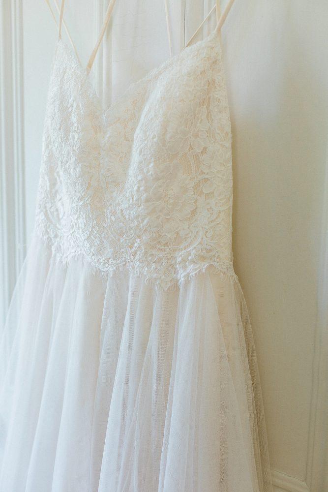 Lace & Chiffon Wedding Dress: Rustic Blue & Green Wedding from Breanna Elizabeth Photography featured on Burgh Brides