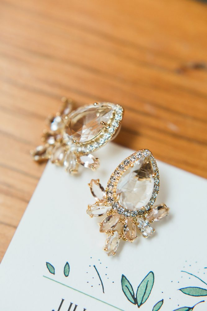 Sparkly Bridal Earrings: Rustic Blue & Green Wedding from Breanna Elizabeth Photography featured on Burgh Brides