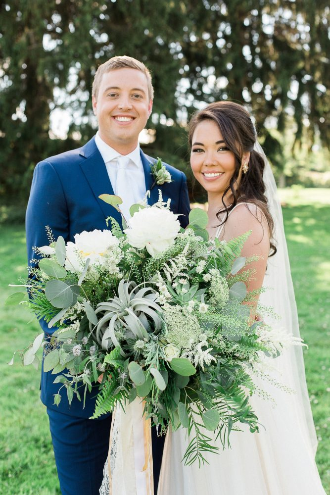 Oversized Greenery Bridal Bouquet: Rustic Blue & Green Wedding from Breanna Elizabeth Photography featured on Burgh Brides