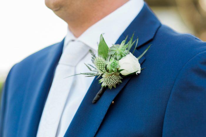 Blue Groom Attire: Rustic Blue & Green Wedding from Breanna Elizabeth Photography featured on Burgh Brides