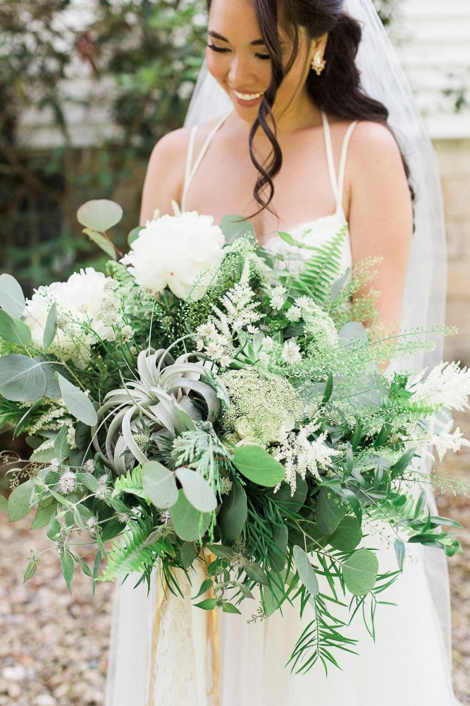 Oversized Greenery Bridal Bouquet with Air Plants: Rustic Blue & Green Wedding from Breanna Elizabeth Photography featured on Burgh Brides