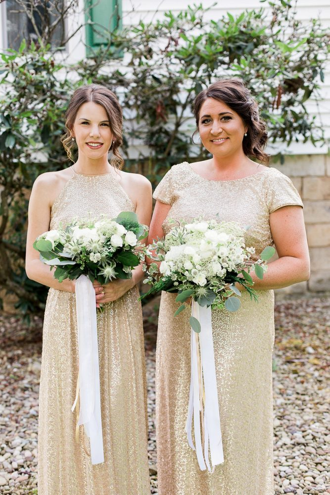 Gold Sequin Bridesmaids Dresses: Rustic Blue & Green Wedding from Breanna Elizabeth Photography featured on Burgh Brides