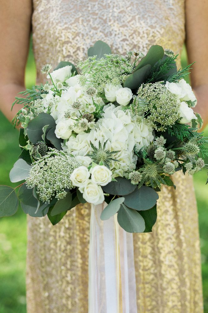 Green & White Bouquet: Rustic Blue & Green Wedding from Breanna Elizabeth Photography featured on Burgh Brides