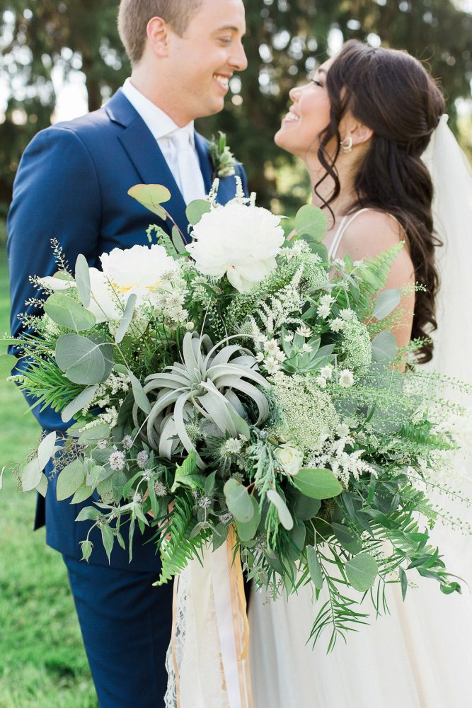 Oversized Bridal Bouquet with Air Plants: Rustic Blue & Green Wedding from Breanna Elizabeth Photography featured on Burgh Brides