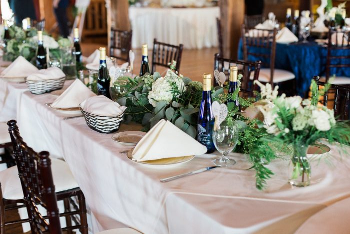 Greenery Table Runners: Rustic Blue & Green Wedding from Breanna Elizabeth Photography featured on Burgh Brides