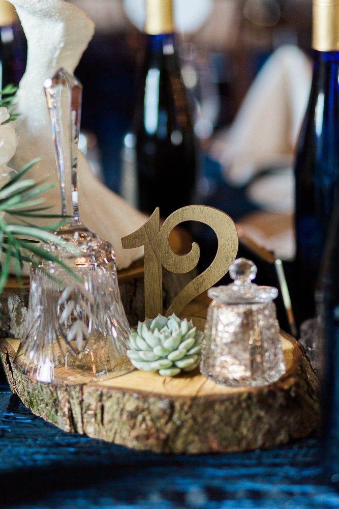 Gold Wedding Table Numbers: Rustic Blue & Green Wedding from Breanna Elizabeth Photography featured on Burgh Brides