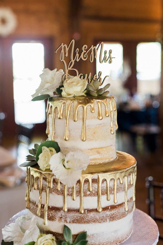 Gold Drip Wedding Cake: Rustic Blue & Green Wedding from Breanna Elizabeth Photography featured on Burgh Brides
