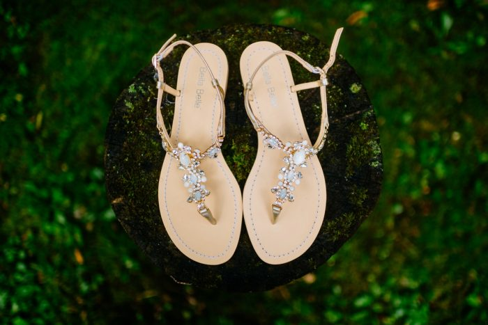 Rhinestone Bridal Sandals: Shades of Blue Wedding at Fernstone Retreat from The Oberports and Olive & Rose Events featured on Burgh Brides