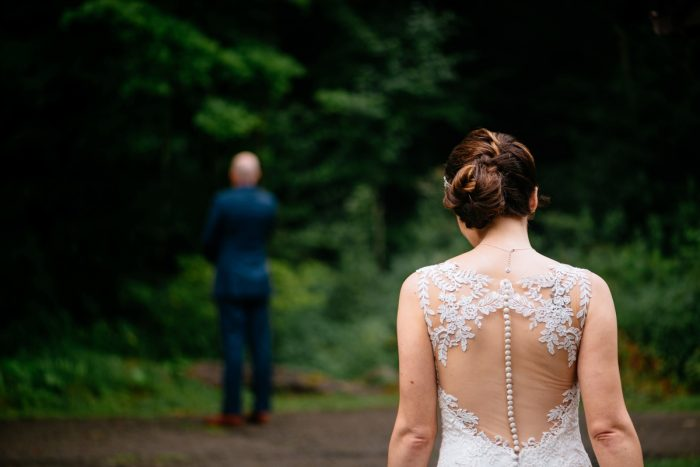 Lace Back Wedding Dress: Shades of Blue Wedding at Fernstone Retreat from The Oberports and Olive & Rose Events featured on Burgh Brides