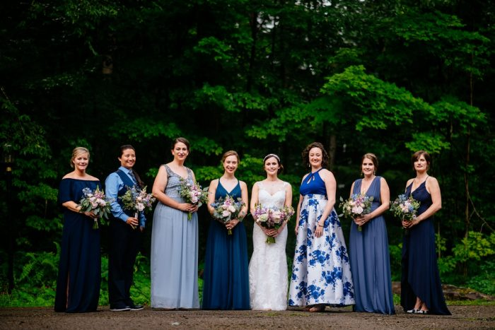 Mismatched Blue Bridesmaids Dresses: Shades of Blue Wedding at Fernstone Retreat from The Oberports and Olive & Rose Events featured on Burgh Brides