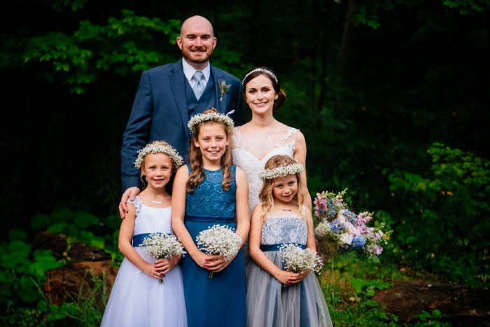 Flower Girls in Shades of Blue Dresses: Shades of Blue Wedding at Fernstone Retreat from The Oberports and Olive & Rose Events featured on Burgh Brides