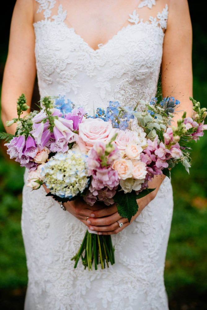 Blue, Purple, White, and Pink Bridal Bouquet: Shades of Blue Wedding at Fernstone Retreat from The Oberports and Olive & Rose Events featured on Burgh Brides