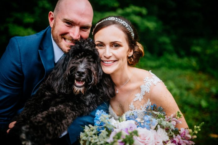 Dogs at Weddings: Shades of Blue Wedding at Fernstone Retreat from The Oberports and Olive & Rose Events featured on Burgh Brides