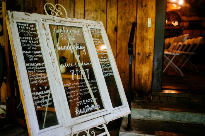 Vintage Window Sign Ceremony Program Display: Shades of Blue Wedding at Fernstone Retreat from The Oberports and Olive & Rose Events featured on Burgh Brides