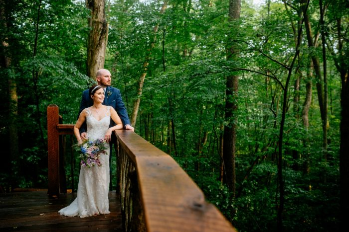 Woodsy Bride and Groom Wedding Day Portraits: Shades of Blue Wedding at Fernstone Retreat from The Oberports and Olive & Rose Events featured on Burgh Brides