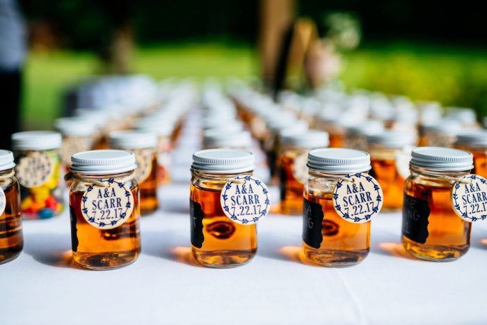 Rustic Jars of Honey Wedding Favors: Shades of Blue Wedding at Fernstone Retreat from The Oberports and Olive & Rose Events featured on Burgh Brides