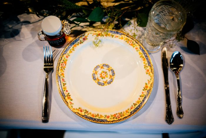 Vintage China Place Setting: Shades of Blue Wedding at Fernstone Retreat from The Oberports and Olive & Rose Events featured on Burgh Brides