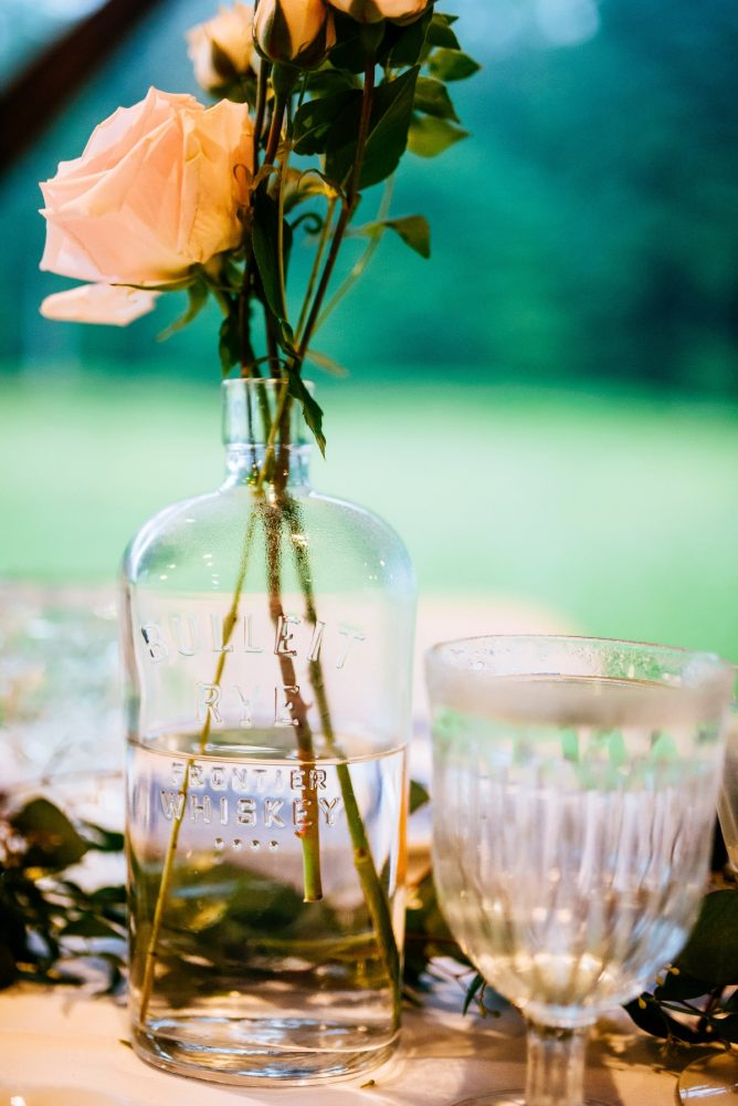 Vintage Bottle Wedding Centerpieces: Shades of Blue Wedding at Fernstone Retreat from The Oberports and Olive & Rose Events featured on Burgh Brides