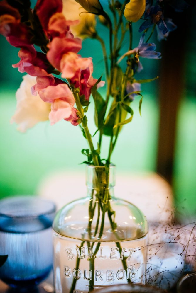 Vintage Bottle Wedding Day Centerpieces: Shades of Blue Wedding at Fernstone Retreat from The Oberports and Olive & Rose Events featured on Burgh Brides