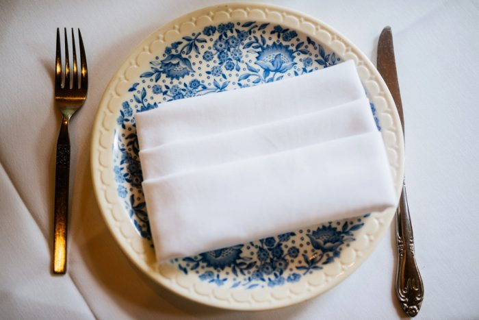 Vintage China Place Settings: Shades of Blue Wedding at Fernstone Retreat from The Oberports and Olive & Rose Events featured on Burgh Brides