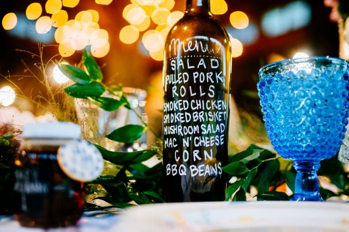 Casual Wedding Day BBQ Menu Card: Shades of Blue Wedding at Fernstone Retreat from The Oberports and Olive & Rose Events featured on Burgh Brides