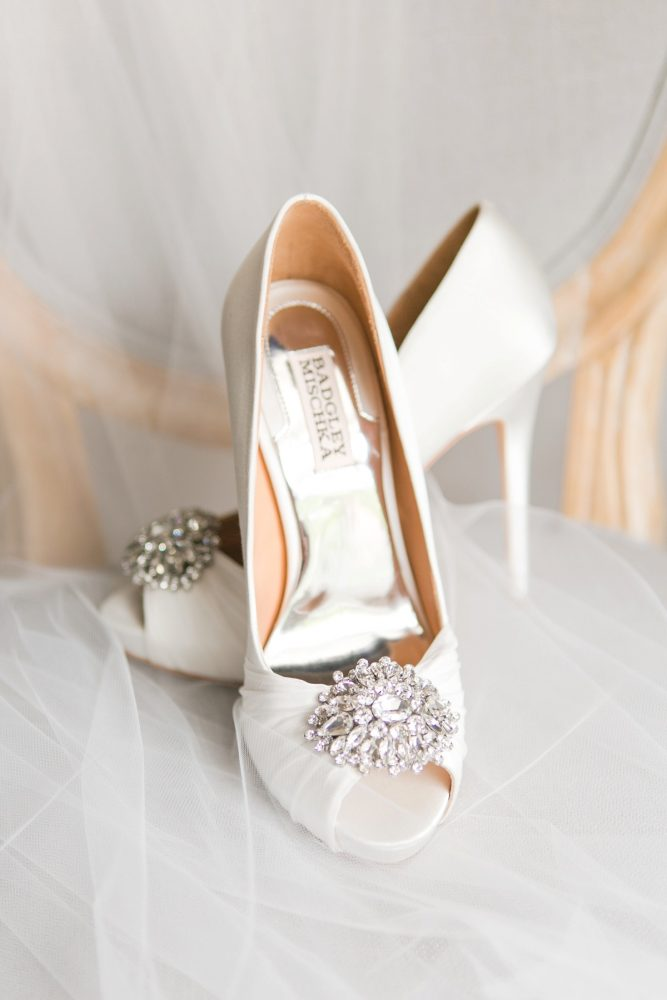 Ivory Peep Toe Badgley Mischka Wedding Shoes: Soft Lavender & Gray Wedding at the Pittsburgh Field Club from Laura Kathleen Photography featured on Burgh Brides