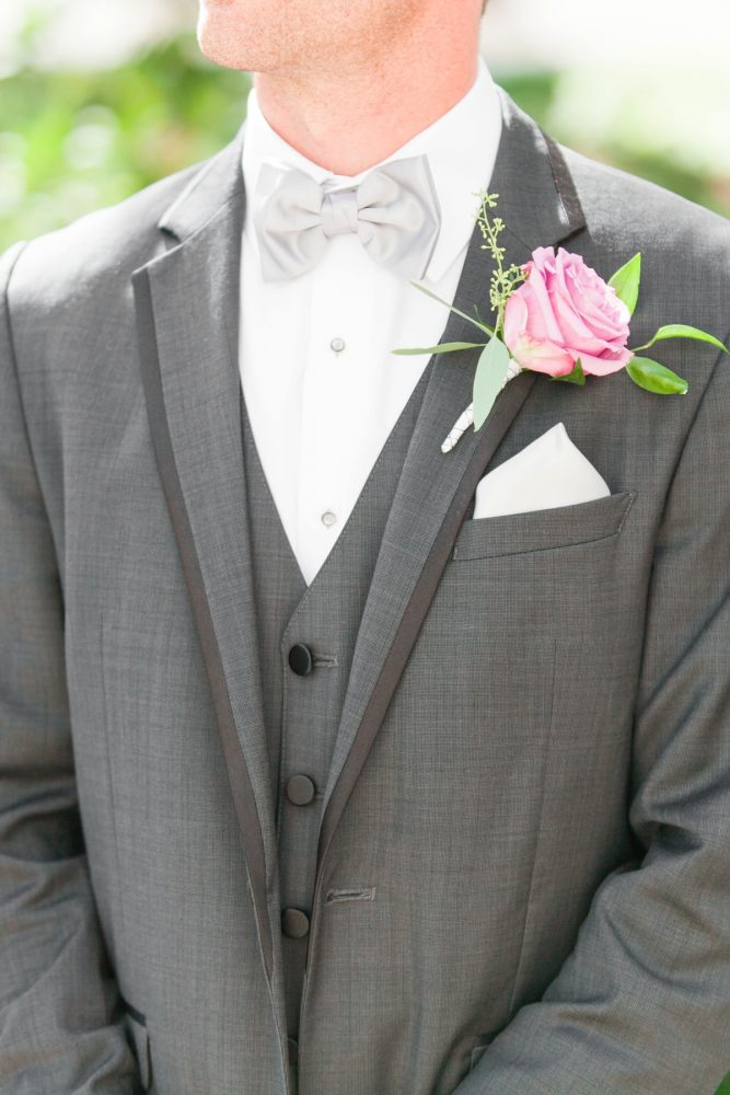 Gray Groomsmen Wedding Day Tuxedo: Soft Lavender & Gray Wedding at the Pittsburgh Field Club from Laura Kathleen Photography featured on Burgh Brides