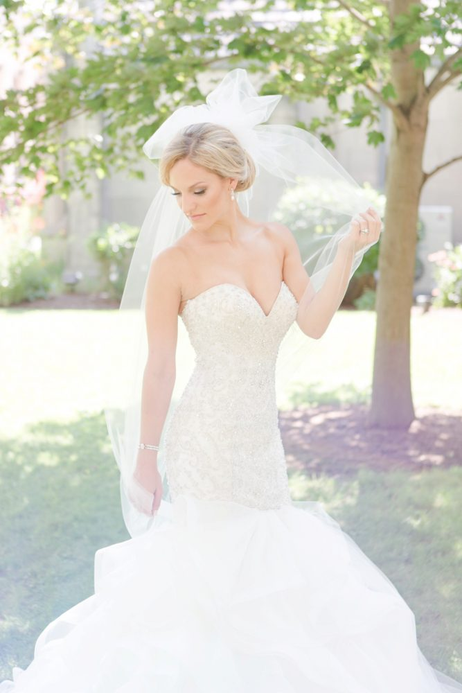 Beaded Trumpet Wedding Dress with Sweetheart Neck and Veil: Soft Lavender & Gray Wedding at the Pittsburgh Field Club from Laura Kathleen Photography featured on Burgh Brides