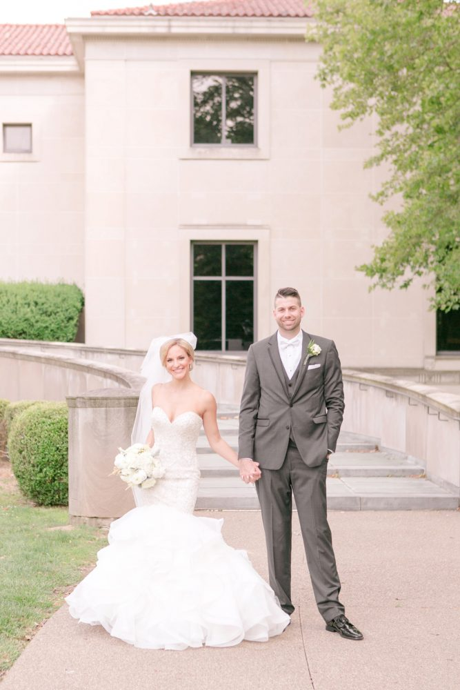 Beaded Trumpet Wedding Dress: Soft Lavender & Gray Wedding at the Pittsburgh Field Club from Laura Kathleen Photography featured on Burgh Brides