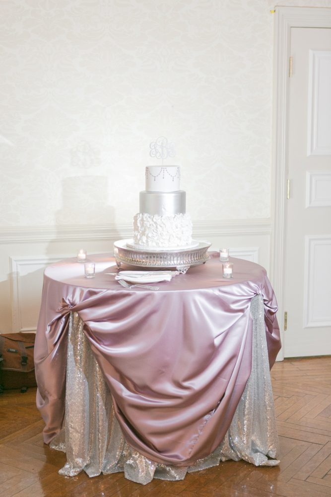 White and Silver Wedding Cake: Soft Lavender & Gray Wedding at the Pittsburgh Field Club from Laura Kathleen Photography featured on Burgh Brides