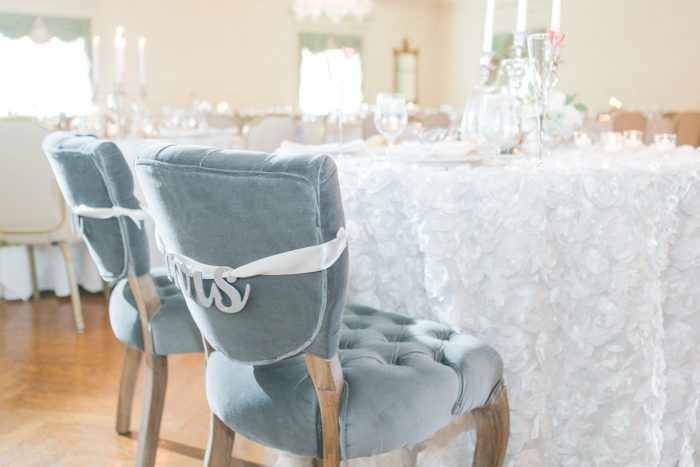 Bride and Groom Chair Decor at Wedding: Soft Lavender & Gray Wedding at the Pittsburgh Field Club from Laura Kathleen Photography featured on Burgh Brides
