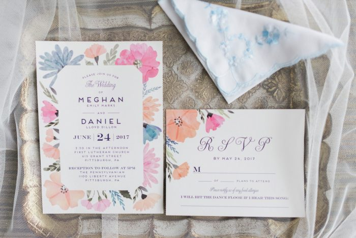 Bright Floral Wedding Invitations: Swoon Worthy French Blue Wedding at the Pennsylvanian from Soiree by Souleret and Levana Melamed Photography featured on Burgh Brides