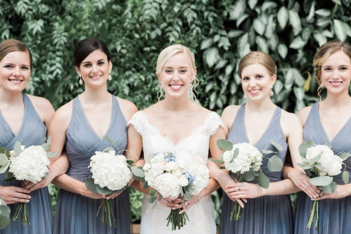 French Blue Bridesmaids Dresses: Swoon Worthy French Blue Wedding at the Pennsylvanian from Soiree by Souleret and Levana Melamed Photography featured on Burgh Brides