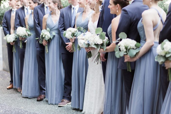 Blue Bridesmaids Dresses: Swoon Worthy French Blue Wedding at the Pennsylvanian from Soiree by Souleret and Levana Melamed Photography featured on Burgh Brides