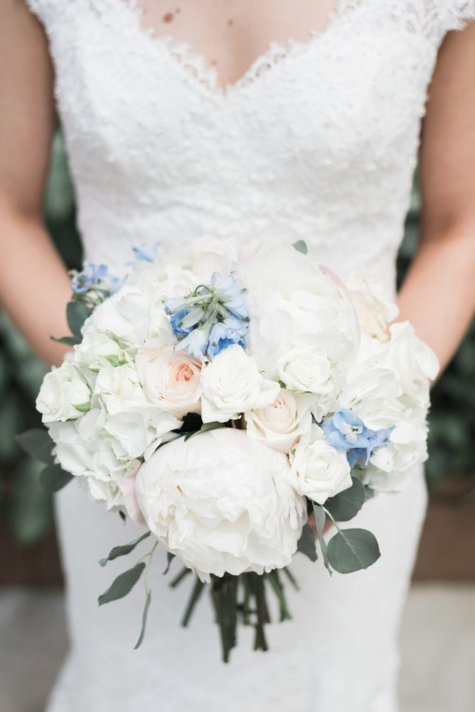 White and Blue Wedding Flowers: Swoon Worthy French Blue Wedding at the Pennsylvanian from Soiree by Souleret and Levana Melamed Photography featured on Burgh Brides