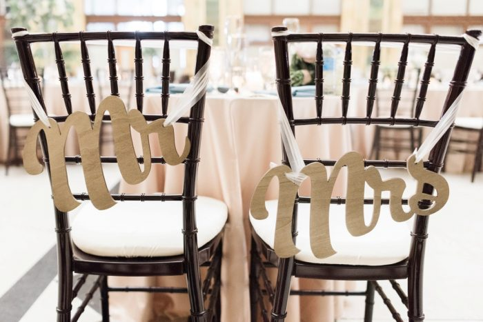 Wedding Chair Signs: Swoon Worthy French Blue Wedding at the Pennsylvanian from Soiree by Souleret and Levana Melamed Photography featured on Burgh Brides