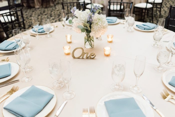 Wooden Table Numbers: Swoon Worthy French Blue Wedding at the Pennsylvanian from Soiree by Souleret and Levana Melamed Photography featured on Burgh Brides