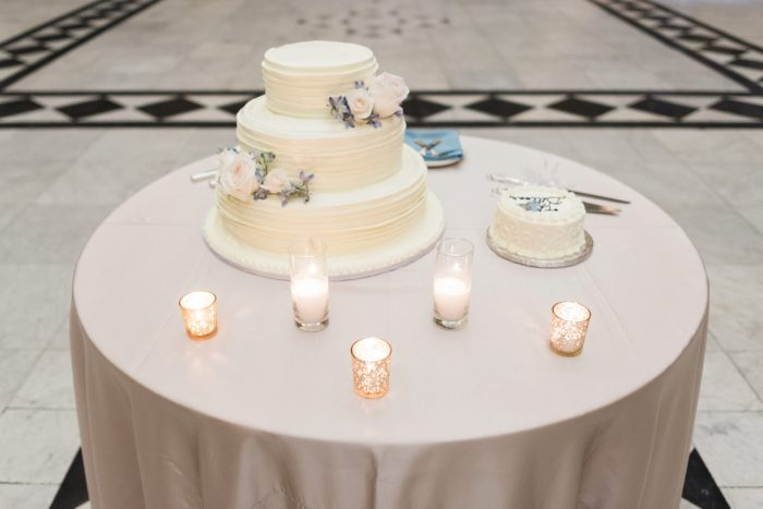 Wedding Cake Table Ideas: Swoon Worthy French Blue Wedding at the Pennsylvanian from Soiree by Souleret and Levana Melamed Photography featured on Burgh Brides