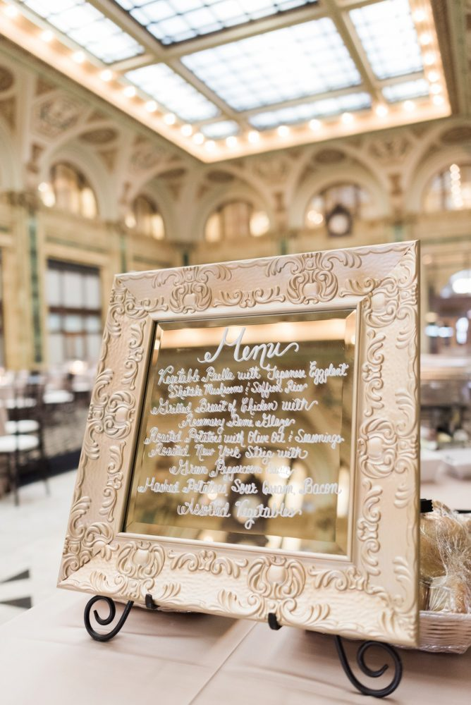 Gold Mirror Wedding Signs: Swoon Worthy French Blue Wedding at the Pennsylvanian from Soiree by Souleret and Levana Melamed Photography featured on Burgh Brides