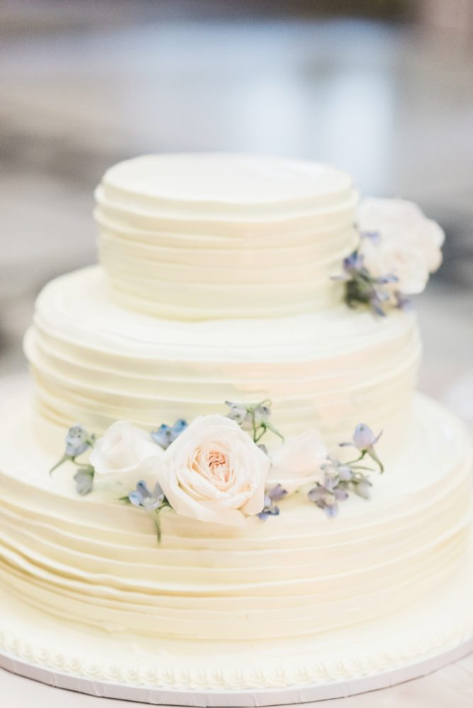 Buttercream Wedding Cake: Swoon Worthy French Blue Wedding at the Pennsylvanian from Soiree by Souleret and Levana Melamed Photography featured on Burgh Brides