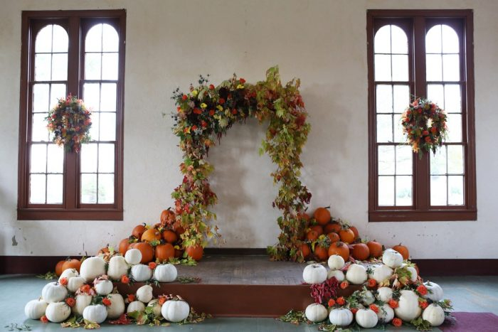 Fall Pumpkin Wedding Ceremony Backdrop: Wedding Ideas & Details: Best of 2017 from Burgh Brides