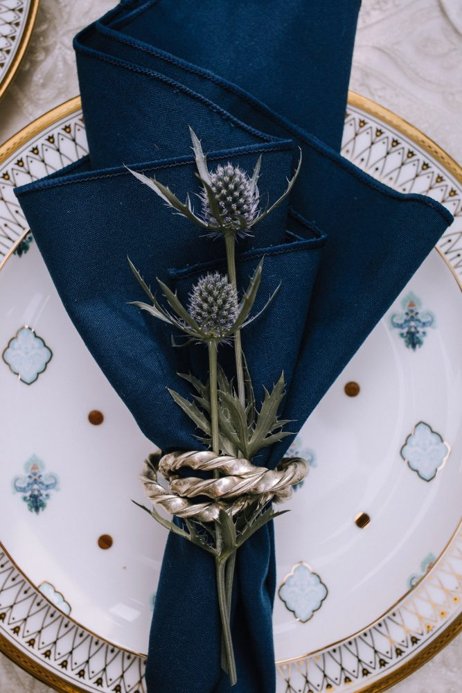 Blue Wedding Tablescape Place Setting: Blue & Gold Literary Inspired Wedding Styled Shoot from Kaitlin Powell Photography and Exhale Events featured on Burgh Brides