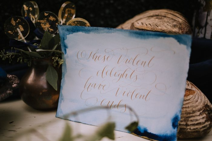 Blue & Gold Calligraphy Wedding Signs: Blue & Gold Literary Inspired Wedding Styled Shoot from Kaitlin Powell Photography and Exhale Events featured on Burgh Brides