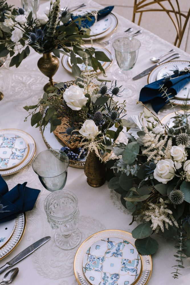 Romantic Wedding Tablescape: Blue & Gold Literary Inspired Wedding Styled Shoot from Kaitlin Powell Photography and Exhale Events featured on Burgh Brides