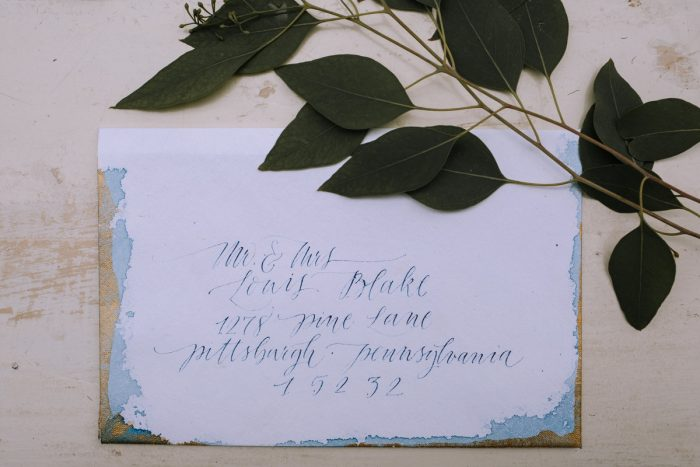 Blue & Gold Calligraphy Wedding Invitations: Blue & Gold Literary Inspired Wedding Styled Shoot from Kaitlin Powell Photography and Exhale Events featured on Burgh Brides