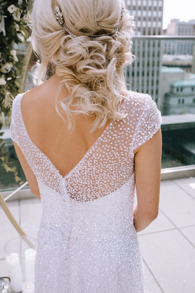 Beaded Short Sleeve Wedding Dress: Blue & Gold Literary Inspired Wedding Styled Shoot from Kaitlin Powell Photography and Exhale Events featured on Burgh Brides